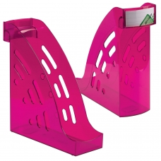 Лоток вертикальный для бумаг СТАММ 'Торнадо' 255х300 мм, ширина 95 мм, тонированный фиолетовый, ЛТ408