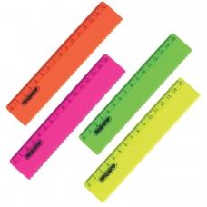 Линейка пластиковая 15 см, ПИФАГОР, неоновая, ассорти, с волнистым краем, 210614