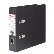 Папка-регистратор BRAUBERG, А5, вертикальная, с двухсторонним покрытием из ПВХ, 70 мм, черная, 223188