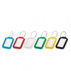 Брелоки для ключей BRAUBERG, комплект 12 шт., длина 50 мм, инфо-окно 35х20 мм, 231152