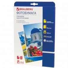 Фотобумага BRAUBERG для струйной печати А4, 140 г/м2, 50 л., односторонняя, глянцевая, 362872