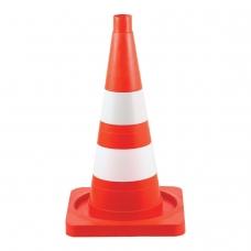 Конус сигнальный дорожный, мягкий, две светоотражающие полосы, высота 520 мм, оранжевый, КС-2.6-П